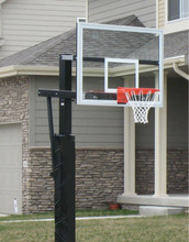 Inground adjustable basketball hoop/systems