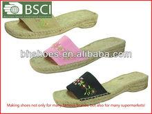 Open Toe Low Heel Canvas Espadrille Shoes Slippers