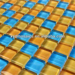 Glass Tile Mosaic Yellow Blue Mix