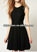 Charming black swan lace pleated European style ladies dress , apparel