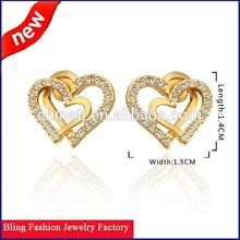 Fashion wedding jewelry accessories gold heart shape earrings