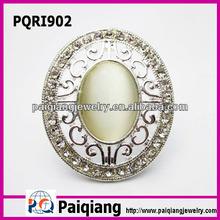 Silver opal emerald costume fashion ring
