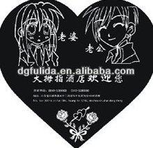 Happy Couple Heart Shape Natural Rubber Mouse Mat
