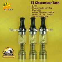 2013 Most popular replacement coil vaporizer T2, 2.4ml rebuildable tank huge smoke evaporator e cigarette
