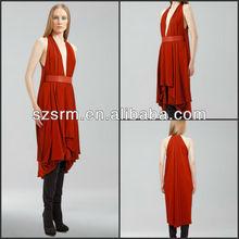 ZPD-009 Stylish Design Womens Deep V Neck Sleeveless Pleated Red Rose Prom Dresses