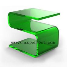 modern high end acrylic PMMA S shape coffee table