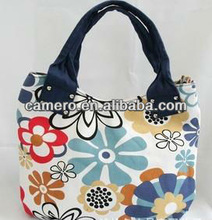 2015 Printed flower Canvas Tote Bags/ Handbags For Ladies