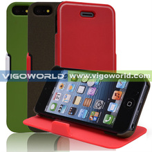 Hybrid TPU and PC book folio flip cover for iPhone 5 PC+TPU Combo case with secure flap double color