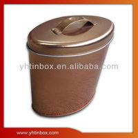 oval delicate tea tin can