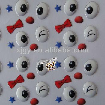 clear eyes 3d epoxy dome sticker