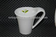 Plain white ceramic coffee mug with big ear shaped handle