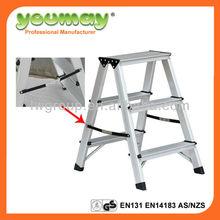 EN131 Aluminum double sided ladder Ladder aluminum step ladder folding ladder,AD0403A,3 steps