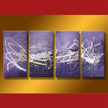 Handmade purple abstract art with frame