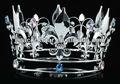"""Atacado fleur de lis 5"""" círculo completo simulado sapphire prata men's rei/mulheres coroa de rainha ct1718"""