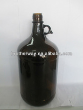 vintage 1 gallon amber beer bottle with ring handle antique