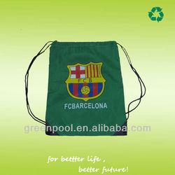 green convenient 210D cheap waterproof drawstring backpack