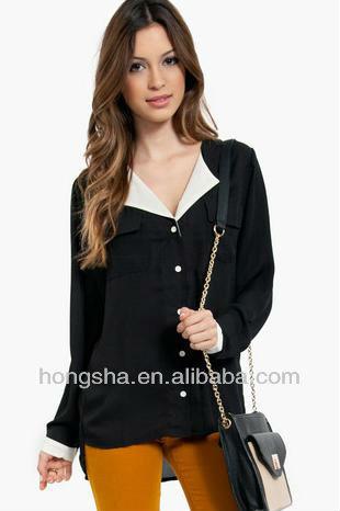 Image Modelos De Tela Blusas En La Gasa Negro Blusa Para Mujeres Hsb