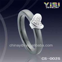 3 mm Black Ceramic and Silver Diamond Ring Heart design series