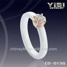3 mm China Ceramic Jewelry Wholesale Sparkling Zircon and Gold Plating Silver Perfesct Combinated Ceramic Ring For Love