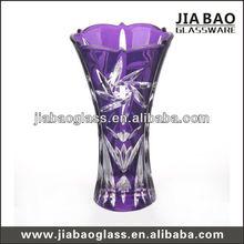 25cm purple glass vase with sun pattern