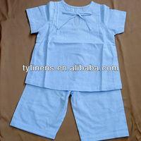100% cotton blue stripe short sleeve shirt and pants 2 pieces girl's pajamas set