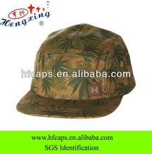 Palm tree leaf woven label custom printed 5 panel hat