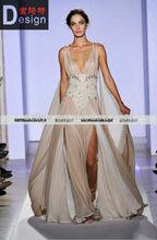 champange v-neck chiffon appliques floor length prom evening dress