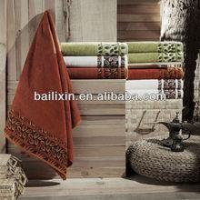 100% organic cotton zero twist jacquard bath towels in dark color