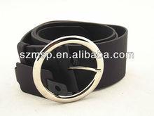 Black washed PU leather women waist belt