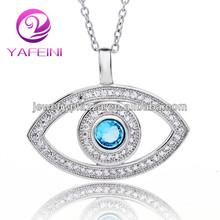 2014 joyería de plata de la, Aquamarine collar de mal de ojo