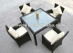 alu frame poly rattan outdoor dining set 5pieces