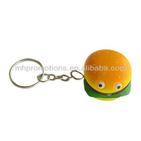 cute key chain,promotion hamburger key chain,pu custom key chain