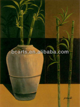 Handmade Still Life Oil Paintings Lucky Bamboo Pottery Paintings