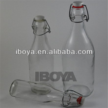 Vintage Style Square Airtight Clip Top Preserve Glass Bottles