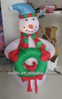 Christmas airblown inflatable pop up snowman /snowman with Christmas Garland