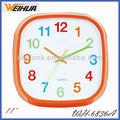 11 pulgada cuadrada de plástico reloj de pared wh-6836, decoración de hogar