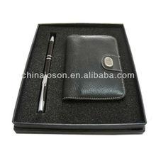 MOQ less 1000pcs stationary business gift handmade custom logo pen & PU leather card holder gift set for mens' promotional
