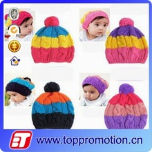 fashion colorful children winter crochet knit hat