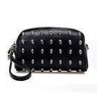2014 Fashion trends factory wholesale girls high quality PU school clutch bags with metal skull