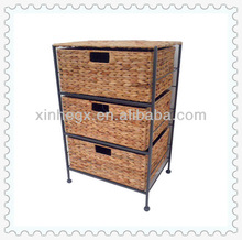 2013 durable water hyacinth woven cheap storage horizontal steel cabinet