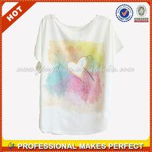 wholesale new design sweet plain summer lady apparel ladies t shirt(YCT-B0103)