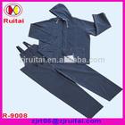 Blue adult pvc raincoat with bid pants