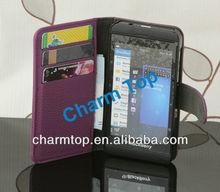 Leather Wallet Case for Blackberry Z10