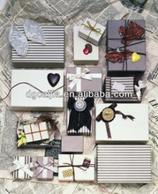 Beautiful pattern small paper gift box with ribbon