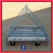 Popular Collapsible Warehouse Cage with 4 Wheels Foldable Metal Wire Container