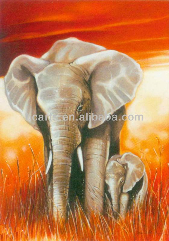 anne ve çocuğun yağlıboya bebek fil aile Filler