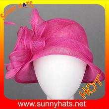 Fuschia ladies fancy church hats with big flowers