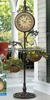 metal floor clock with hanging basket