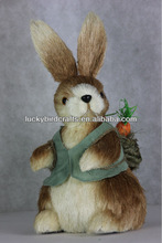 2014 new easter grass decoration standing rabbit with a vest and basket