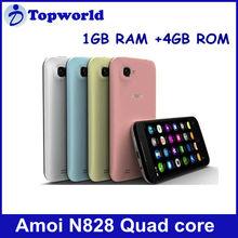 Amoi smart phone N828 MTK6589 Quad core 4.5 inch screen android 4.1 Ram 1GB+Rom 4GB